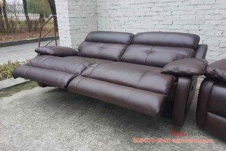 Трехместный кожаный диван электрореклайнер