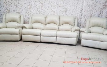 Кожаный комплект мебели 3р+1р+1р
